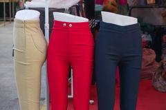 Pants. Half mannequin were female pants in dress shop Stock Photography