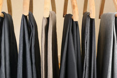 Pants on hangers. Stock Photo