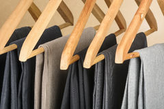 Pants on hangers. Stock Image