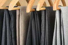 Pants on hangers. Royalty Free Stock Photo