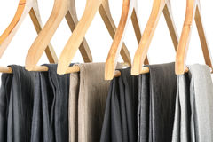 Pants on hangers. Stock Photos