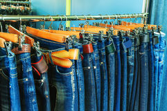 Pants (jeans) in the store Stock Photography