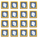 Pants pockets design icons set blue square vector. Pants pockets design icons set vector blue square isolated on white background Royalty Free Stock Images