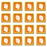 Pants pockets design icons set orange square vector. Pants pockets design icons set vector orange square isolated on white background Stock Images