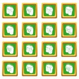 Pants pockets design icons set green square vector. Pants pockets design icons set vector green square isolated on white background Royalty Free Stock Photos
