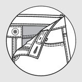 Pants` processing scheme. Processing scheme of pants with button fastener stock illustration