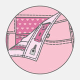Pants` processing scheme. Processing scheme of kids` pants with hook fastener royalty free illustration