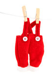 Pants of Santa hanging at the clothesline Stock Images