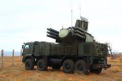 Pantsir C1俄国自走防空导弹和枪系统土地和海根据 图库摄影