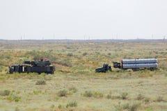 Pantsir-S1 (vinthund SA-22) och S-300 (morrandet SA-10) Arkivfoto