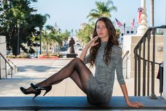 Pantyhose at street level. stock photo