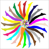 Pantyhose / tights / stockings legs. Colorful wheel abstract made up of women's legs in stockings, vector Stock Photography