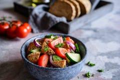 Panzanella - Italiaanse salade met tomaat, ui, komkommer en broodcroutons stock fotografie