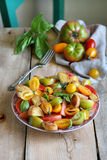 Panzanella salad with cubes of crusty bread and tomatoes Royalty Free Stock Photos