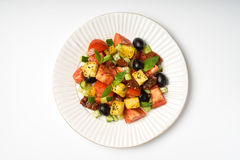Panzanella salad with sun-dried tomatoes and ciabatta in a ceram Stock Image