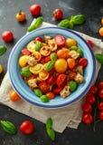 Panzanella tomatsallad med röda, gula orange körsbärsröda tomater, kapris, basilika och ciabattakrutonger Sund sommar Royaltyfria Bilder