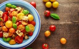 Panzanella tomatsallad med röda, gula orange körsbärsröda tomater, kapris, basilika och ciabattakrutonger Sund sommar royaltyfri bild