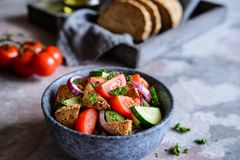 Panzanella - Italian salad with tomato, onion, cucumber and bread croutons stock photography
