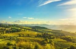 Panzano in Chianti vineyard and panorama at sunset. Tuscany, Italy stock images