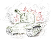 The panzer. Vector stroke green tank on a fire and smoke background Stock Image