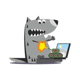 Panzer firing on wolf 01. Cartoon panzer firing on wolf with laptop isolated on white background, vector illustration 01 Stock Photos