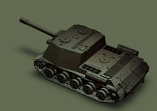 Panzer self-propelled artillery unit drawing on a grey background Royalty Free Stock Photography