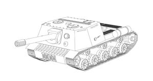 Panzer self-propelled artillery unit outline drawing on a white background Stock Photos