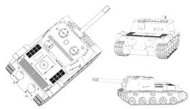 Panzer self-propelled artillery unit outline drawing on a white background Royalty Free Stock Photo