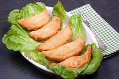 Panzerotti With Cheese And Salami Royalty Free Stock Photos