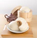 pao或亚洲小圆面包在背景 免版税库存图片