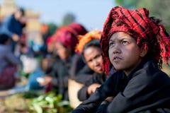 PaO部族女孩在掸邦,缅甸 图库摄影