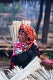 PaO部落妇女,缅甸 免版税库存照片