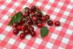Paño rojo de la comida campestre con la cereza Imagenes de archivo