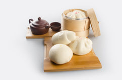 Pao or Steamed BBQ Pork Asian Buns Ready to Eat. Pao or Steamed BBQ Pork Asian Buns Ready to Eat Royalty Free Stock Photo
