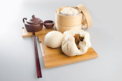 Pao or Steamed BBQ Pork Asian Buns Ready to Eat. Stock Image