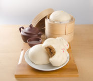 Pao or Steamed BBQ Pork Asian Buns Ready to Eat. Pao or Steamed BBQ Pork Asian Buns Ready to Eat Stock Photos
