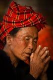 A Pao Tribe woamn of Shwedagon Pagoda, Yangon, Myanmar Stock Images