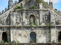 Paoay Church in Ilocos Norte upper façade. The Saint Augustine Church, commonly known as the Paoay Church, is the Roman Catholic church of the municipality of Royalty Free Stock Photo