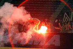 PAOK against Rapid football match riots. THESSALONIKI, GREECE-AUG 23:Clashes PAOK Thessaloniki and Rapid Vienna fans and the police before UEFA Europe League Royalty Free Stock Images
