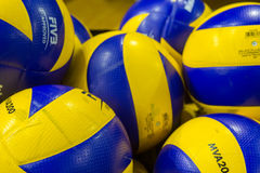 PAOK ARIS GREEK VOLLEY LEAGUE. THESSALONIKI, GREECE - FEBRUARY 5, 2015 : Volleyball balls stacked during the Hellenic Volleyball League game Paok vs Aris at PAOK Royalty Free Stock Photography