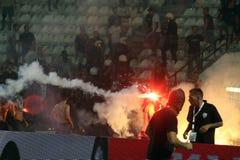 PAOK contre des émeutes rapides de match de football Photo libre de droits