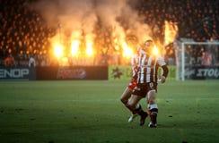 paok för fotbollmatcholympiakos Arkivbilder