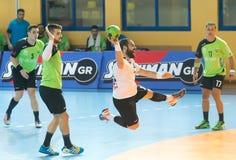 PAOK grego do campeonato do handball contra Diomidis Imagem de Stock Royalty Free