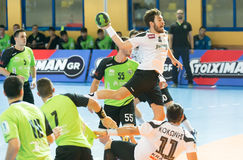 PAOK grego do campeonato do handball contra Diomidis Imagens de Stock