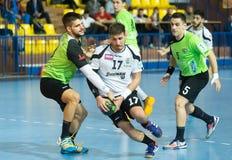 PAOK grego do campeonato do handball contra Diomidis Fotos de Stock