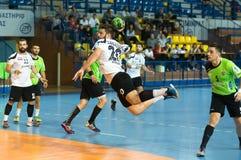 PAOK grego do campeonato do handball contra Diomidis Imagens de Stock Royalty Free