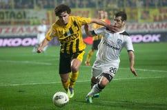 Paok und Aris Fußball-Mannschaftsspieler Lizenzfreie Stockfotografie