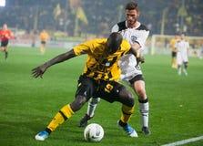Paok und Aris Fußball-Mannschaftsspieler Lizenzfreie Stockfotos