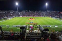 PAOK VS FIORENTINA UEFA EUROPA LEAGUE. THESSALONIKI, GREECE – NOV 12, 2014 : General view of the full Toumba stadium prior to the UEFA Europa League match Paok Royalty Free Stock Photos