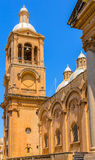 Paola Church Side. Side view of the Paola parish church ant its tower in Malta Stock Photos